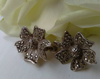 Vintage Silver Tone Marcasite Floral Screw Back Earrings. SPECIAL OFFER!