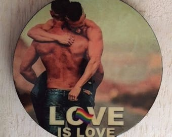 Love is Love Magnet, Love is Love Refrigerator Magnet, Love is Love Coaster, Love is Love Christmas Ornament, Gay Pride, Gay Male Art, Gay