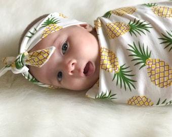 PINEAPPLE -- pineapple swaddle, cocoon swaddle, swaddle set, swaddle and headband, baby sleep sack