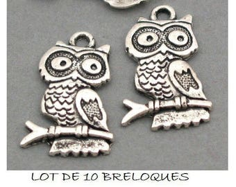 set of 10 charms OWL on branch Silver (D37)
