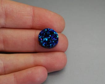 Set of 5 (H06) 12mm blue glitter druzy cabochons