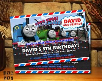 Train Invitation Etsy - Birthday invitation card thomas and friends