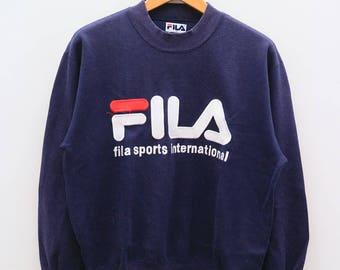 Vintage FILA Sports International Big Logo Blue Sportswear Sweater Sweatshirts Size M