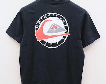 Vintage QUIKSILVER 1969 Big Logo Surfing Surf Aloha Gecko Hawaii Black Tee T Shirt Size M