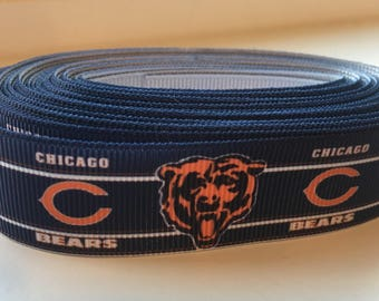 "Chicago cubs inspired grosgrain ribbon 7/8"" (per yard)"