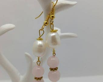 Pearl and rise quartz drop earrings beautiful handmade vintage luxury