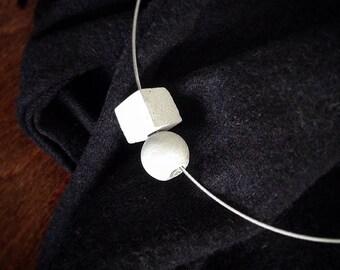 concrete cube + sphere necklace