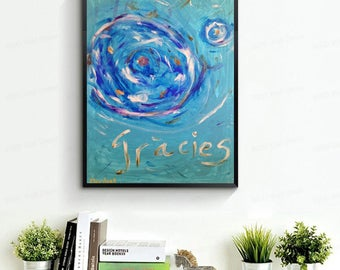 """Abstract painting, original wall art. Blue, white and orange sky. Modern art, poetic painting. 19'6 × 27'5 """"."""