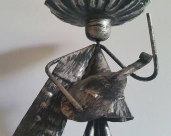 90s Folk art tin mariachi player candle holder