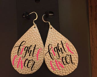 faux leather earrings fight cancer