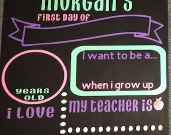 First day of school chalkboard /kindergarten/first grade/ k-12 school year