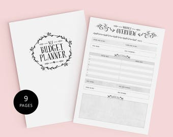 Budget Planner Kit - A4 - 9 Pages -  Financial Planner including Savings, Overviews, Debt Tracker, Expenses & More. INSTANT DOWNLOAD