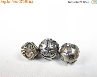 63% End of Summer Sale Set of 3---Sterling silver .925 ornate beads/8x7-10x10mm/