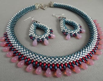 America The Beautiful Bead Crochet Necklace & Earrings