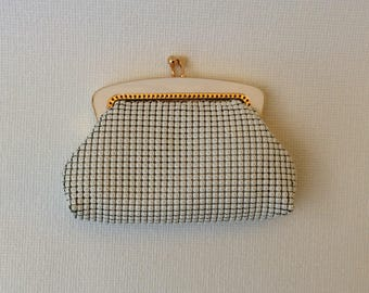Vintage Oroton coin purse white mesh with gold lining