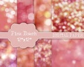 Bokeh overlay, 8 bokeh backdrop, scrapbooking paper, photoshop bacgrounds, scrapbook paper, commercial use, 12x12, pink textures, baby pink