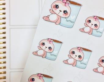 Suzy Coffee Sloth Sticker | Sloth Sticker | Coffee Sticker | Character Sticker | SS001