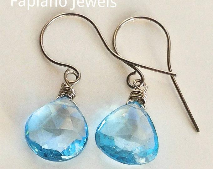 Swiss blue topaz earrings, 14k White gold drop earrings. Handmade Swiss blue large drop earrings.