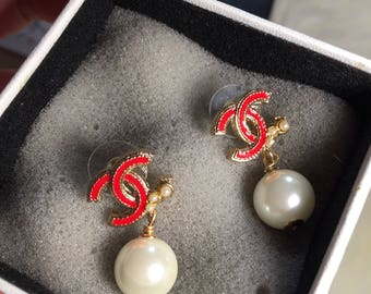 On sale -New cute chanel Inspired cc with pearl drop earrings