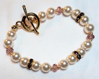 Cream Rose Pearl, Amethyst & Crystal Bracelet, Swarovski, Pearls and Crystal Bracelet