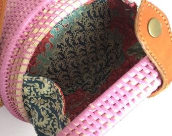 Rattan Bag, Straw Bag, Round woven bag, Round Straw Crossbody, Round Straw Bag, Beach Bag, Crossbody Bag, Straw bag, Pink Bag, Boho Bag
