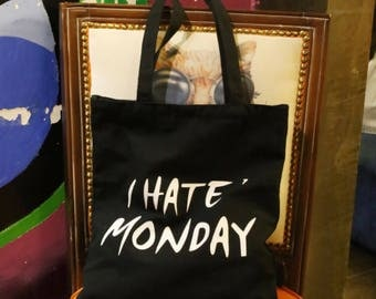 "Customized ""i hate monday""printed tote, children's drawing bag, fashion tote, gift tote"