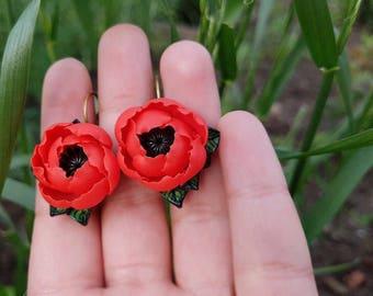 Poppy red earrings, Red flower earrings, Wildflowers jewelry, Red wedding earrings, Red style jewelry, earrings polymer clay