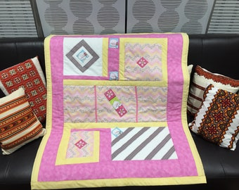 Pink & Yellow quilted baby blanket