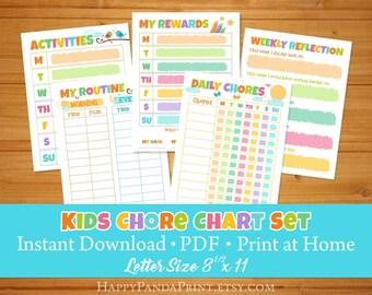 Kids Routine Chart Set, Kids Reward Chart Chore Chart Responsibilities Chart Daily Kids Schedule Kids Weekly Planner Positive Behavior Chart