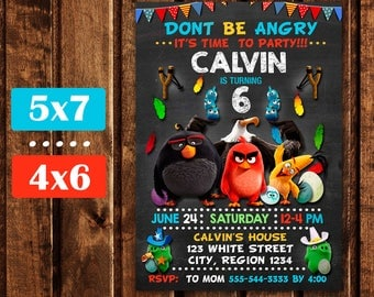 Angry Birds Invitation, Angry Birds Birthday, Angry Birds Party, Angry Birds Printables, Angry Birds Birthday Invitation, Digital File.