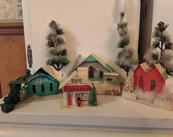 Vintage 40s-50s Christmas Putz House Village with 3 Putz Houses, 1 Plastic House, 3 Plastic Decorated Trees