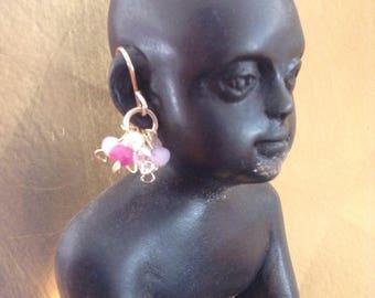 Pretty rose pink earrings, handmade, 14k gold filled.
