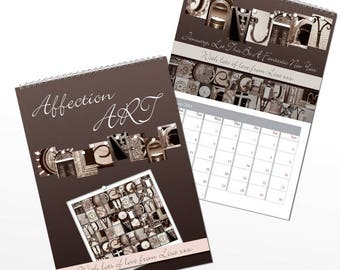 Personalised Affection Art A4 Wall Calendar Gifts Ideas For Valentines Mothers Fathers Day Birthday Anniversary Wedding Newly Weds Love