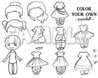 DIGITAL FILE Color Your Own Ballerina