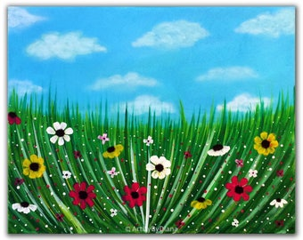 "Handmade Flowers Painting - Original Acrylic Painting on Canvas 40x50cm (16""x20"") Flowers field - Modern Abstract Wall Art -Nursery Art Gift"