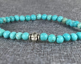 Turquoise Stretch Bracelet with Silver Bead