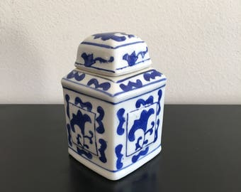 Vintage, Square Ginger Jar, Blue And White, Oriental Decor, Ginger Jar, Ceramic Ginger Jar,Asian Interior, Ginger Jar, Hand Painted,Square