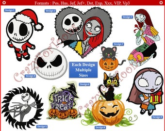CHRISTMAS EMBROIDERY DESIGNS All formats (10 design set) Nightmare before Christmas