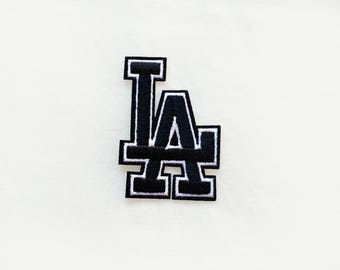 1x Los Angeles LA black sign emblem PATCH custom your jacket, clothes, hat, bag with an Iron On Embroidered Applique
