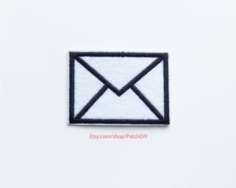 Patch ENVELOPPE iron on embroidered applique writer letter love words news lovers trip around the world DIY custom bag black white