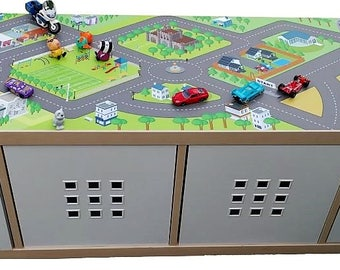 Car city play mat   – Kids room furniture sticker – Ikea hack kallax road map sticker for play tables - Furniture not included.