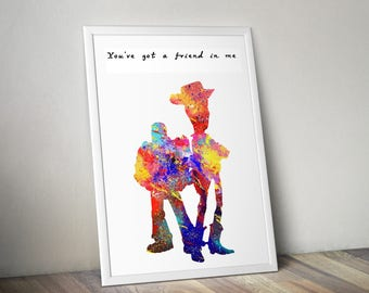 Toy Story Art Print - Pixar Print - Toy Story Lyrics - You've Got A Friend In Me - Toy Story Lyrics - Friendship Quote