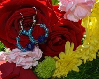 Blue tear drop earring