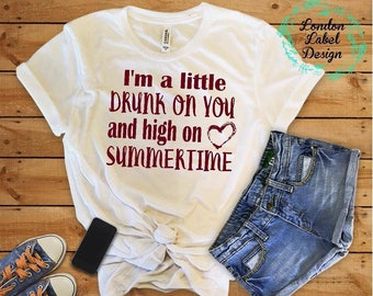 drunk on you, high on summer time, concert tee, concert shirt, western tee