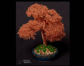 Beautiful Moyogi Bonsai Tree in Copper - Wire Tree Sculpture