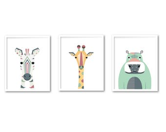 Safari wall art set of 3, Girl animal printable set, Nursery print set of 3 safari animal INSTANT DOWNLOAD Africa animal Zebra Giraffe Hippo