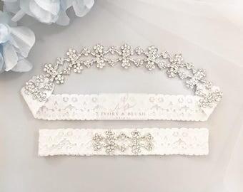 Wedding Garter - Bridal Garter Lace Garter Wedding Garter Set Something Blue Bridal Garter Set Rhinestone Garter Ivory Garter - Style #M0217
