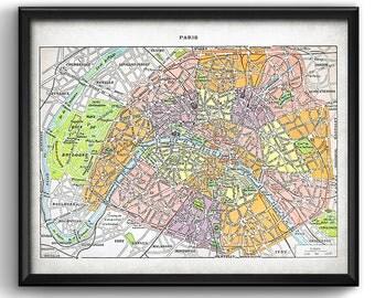 Paris · 1922 · French map · Vintage · Europe · France · Instant Download · Printable  #0179