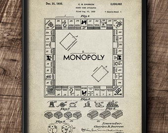 Monopoly · Patent · 1935 · C.B. Darrow · Board Game · Instant Download · Vintage · Printable #202