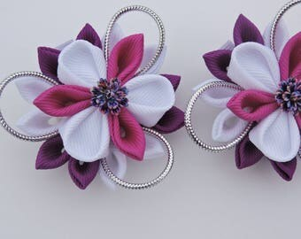 Kanzashi Fabric Flowers. Set of 2 hair clips. White and Purple.